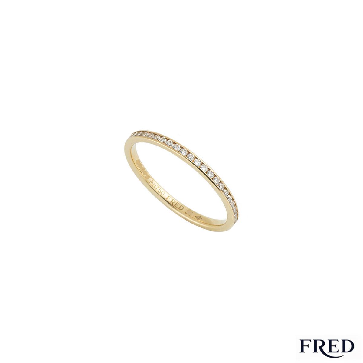 Fred Yellow Gold Full Diamond Eternity Ring 0.32ct G+/VS+